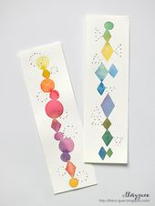 set of 2 original watercolor painting bookmarks, Handpainted paper bookmarks, Abstract,Geometric, Stationery