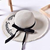 Women Summer Foldable Wide Brim Panama Straw Hat Embroidery Letter Travel Sunsha… – 查找
