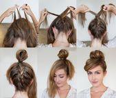 1. Gooi je haar naar voren en pak aan de onderkant drie plukken.  2. Vlecht in v… – Haardesign