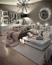 Neutral gray living room – love these colors for my livingroom! #HomeDecorIdeasP…