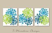 Abstract Floral Dandelion Art Prints Set of (3) 5×7, 8x 10 or 11×14 // Lime., Sea Blue, Glass Blue Modern Home Wall Art Decor, Unframed