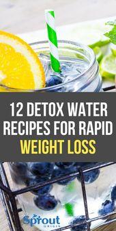 12 Detox Wasser Rezepte zur Gewichtsreduktion   – Lose Weight Fast – #Detox #Fas…
