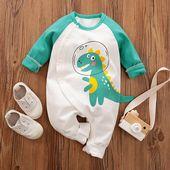 Baby Boy / Girl Cute Dinosaur Print Long-sleeve Jumpsuit