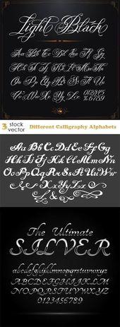 Vektoren – Verschiedene Kalligraphie-Alphabete Mehr