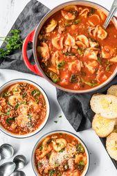 Soupe de tortellinis à la saucisse italienne et aux épinards   – Food