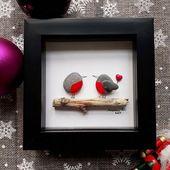 Photo of Pebble Image Robbins, Valentinstag Geschenk, Pebble Art, gerahmte Liebhaber, Valentine Decor,
