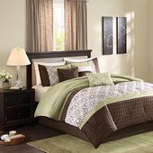 Madison Park MP10-1320 Briggs 7 Piece Comforter Set, King, Green