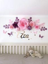 Nursery Paper Flowers – Paper flowers over the crib – Baby Girl Room Paper Flowers – Baby Room Wall Decor (code:112) – DECORAÇÃO FESTIVA