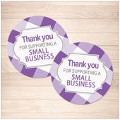 Printable Small Business Stickers, purple gingham, Thank You for Supporting a Small Business, round 2″ Stickers – Instant Download