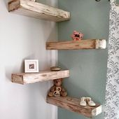 Listing – Rustic Reclaimed Wood Floating Shelves/Wall Shelf/Mantel. Farmhouse White. Mixed
