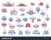 German travel lettering icons of food, drink and landmarks of Germany vector des…