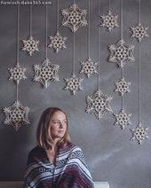 Grand flocon de neige en macramé, décoration de Noël en macramé, macramé moderne, coton …