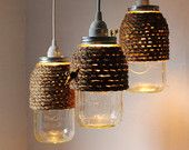 The Hive Mason Jar Pendant Lights, Set Of 3 Hanging Lighting Fixtures With Rope Wrapped Mason Jars, Rustic BootsNGus Lamps & Home Decor
