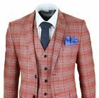 Mens 3 Piece Tweed Check Suit Herringbone Vintage Smart Wine Red Peaky Blinders …