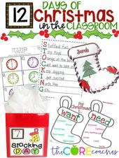 12-tägige Weihnachts-Countdown-Aktivitäten in den Grundschulklassen 1-3 – ***Common Core: All Resources that Align with Common Core