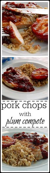 Grilled Pork Chops with Plum Compote & Grilled Plums