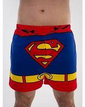 Official DC Comics Superman Single Boxer Short Mens RetroGift Pants Large Blue