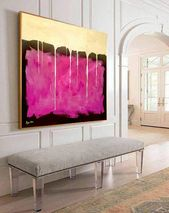 Golden Curtain – Abstract Painting Large Wall Art Painting on Canvas Pink Painting Oversize Painting Large Art Oil Contemporary Art