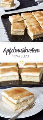 Apfelkuchen mit Mascarponecreme von der Platte   – Kuchen