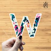 "Letter ""W"" Tropical Vinyl Sticker, Best Friend Gift, Laptop Decals, Name Stickers, Monogram, Macbook"