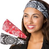 Hipsy Adjustable & Stretchy Printed Xflex Wide Headbands for Women Girls & Teens – Black Abstract & Red Bandana 2pk – Products