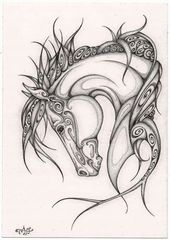 Schnörkel Pferd – #fliesenspiegel #Pferd #Schnör…