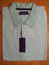 Austin Reed Mens Short Sleeve Polo Golf Shirt Green Stripe Cotton 65 Large Nwt Shirts Men Short Sleeve Austin Reed