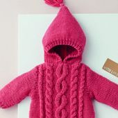 Free Knitting Pattern for a Zip Cabled Baby Sweater with Hood  – Stricken