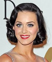 Katy Perry Medium Wavy Formal Hairstyle – Black Hair Color