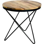 Round hardwood table made of mango tree Solid wood 3-legged metal frame Natura Cl …