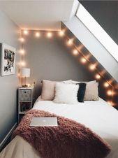 für rückwand ohne fenster: rahmen mit lichterkette – Ideen für das Schlafzimmer ° Wohnen