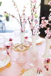 Japanese Cherry Blossom Party Tablescape