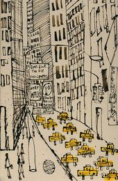 New York City Taxi Drawing, Signed Art Print, New York Painting, Manhattan Street, Dont Walk, One Way, NYC Sign, Skyscrapers Clare Caulfield