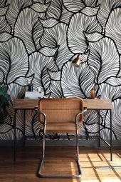 Monochrome Blatt Tapete, exotische Blätter Tapete, Barock Wandbild, Wohnkultur, leicht installieren Wandtattoo, abnehmbare Wallpaper B013b