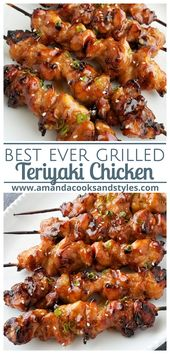 The most delicious marinated teriyaki chicken grilled to perfection and finished with a delicious teriyaki sauce. Serve with a sprinkle of sesame seeds, fresh chopped green onions over steamed rice.