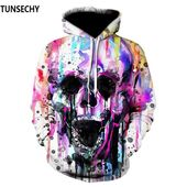 TUNSECHY 2018 Hoodies Men Hoody Sweatshirts Melted Skull 3D Print Fashion Casual Hoodies & Sweatshirts Wholesale and retail   – Hoodies & Sweatshirts