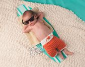 Neugeborene Surfer Set / Baby Board Shorts / nautische Thema Kindergarten / häkeln Baby Badeshorts / Baby Boy Prop / häkeln kurz / Koralle und weiß