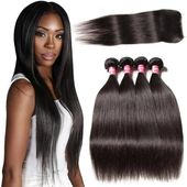 4 Bundles Indian Body Wave With 4*4 Lace Closure Natural Color