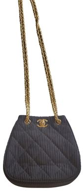 Chanel Evening Vintage Black Silk Shoulder Bag
