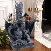 The Subservient Dragon Glass Topped Sculptural Console Table #ModernHomeDecorLux…