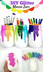 DIY glitter mason jars. Perfect for art spaces …