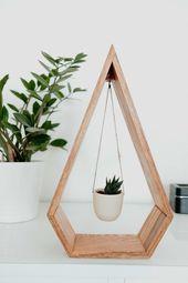 Une tendance suspendu diamant jardinière en bois pour plantes grasses et plantes de l'Air, suspendre planteur, diamant étagère, étagère en bois