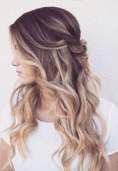 The twisted, half up and half down wavy hairstyle is perfect for everyday wear. Anyway … # natural hair half up half …