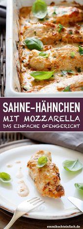 Sahne Hähnchen mit Mozzarella