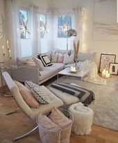 This space is full of delicate, harmonious roses, gray, white and camel / beige