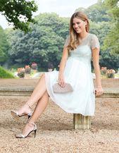 Mint Lace & Silk Chiffon Maternity Cocktail Dress