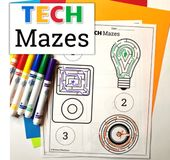 UNPLUGGED Technology Themed Maze Worksheets FREEBIE