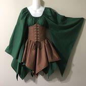 Benutzerdefinierte Größe und Farbe Wald Holz Elfe Fairy Fantasy Taille Cincher Korsett Set Top und gezackten Röcke von LoriAnn Kostümentwürfe
