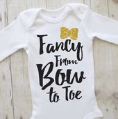 Baby girl clothes – baby shirt – cute baby clothes – baby shower ideas – fancy from bow to toe – bringing home baby outfit – black and gold