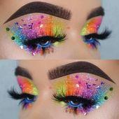 Rainbow Glitter Eyes Makeup Suchen Sie nach Music Festival, Rave, EDC, Electric Zoo, Co – Spitze